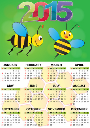 illustration of 2015 calendar for children  Vector
