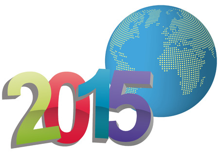 illustration of 2015 text with world in background Vector