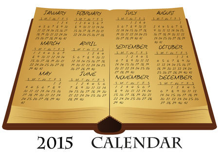 illustration of ancient book with 2015 calendar Vector