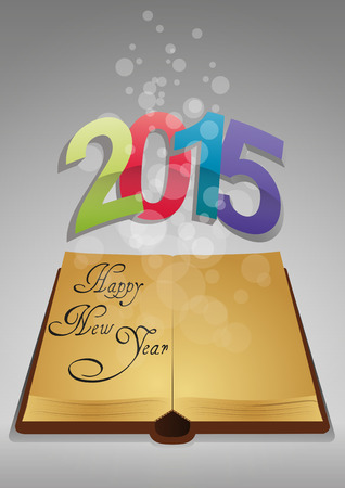 illustration of ancient book with colorful 2015 text Vector