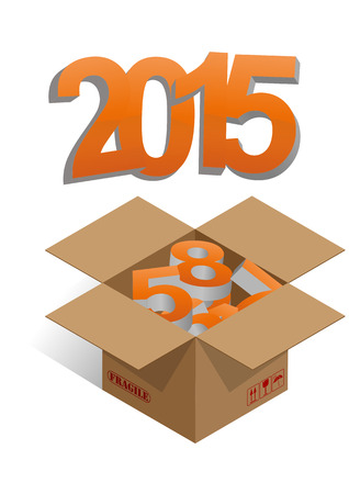 brown box: illustration of brown box with 2015 colorful text