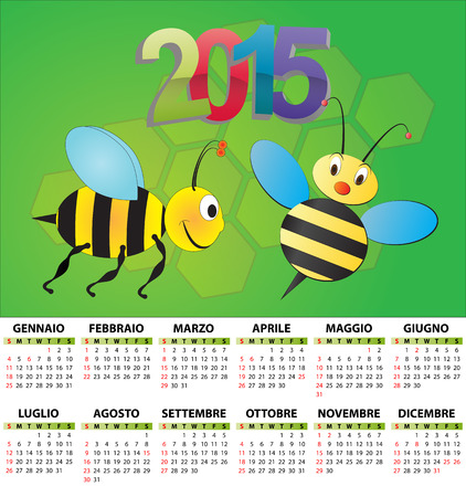 illustration of 2015 calendar for children in italian Vector