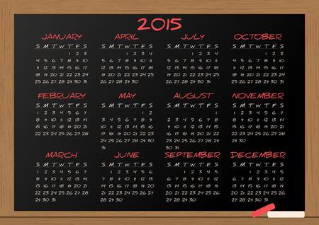 illustration of chalkboard with 2015 calendar Vector