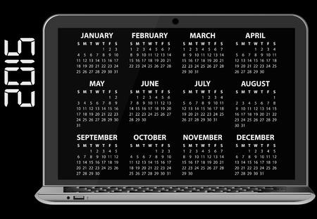 laptop screen: illustration of 2015 calendar on screen of laptop