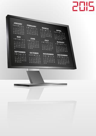 illustration of 2015 calendar on screen of monitor