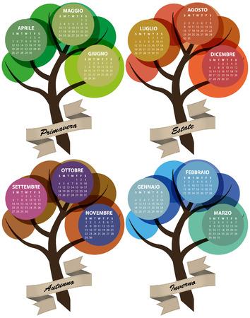 illustration of 2015 colorful season calendar with ribbon, italian language Vector