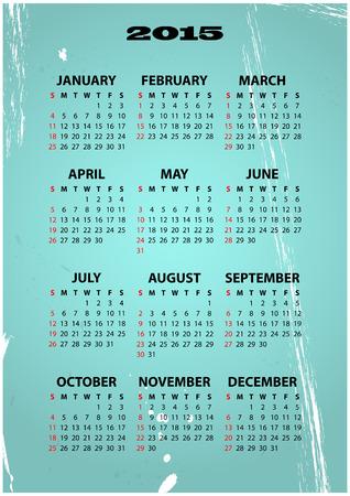 illustration of 2015 calendar with vintage background