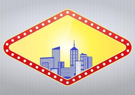 vegas strip: illustration of blank las vegas sign with urban city Illustration