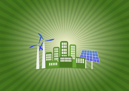 illustration of green energy with sunburst Vector