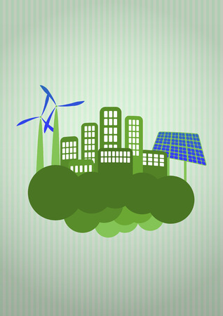 illustration of green energy with cloud Vector