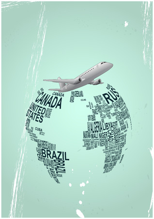 Ilustración del avión alrededor del mundo