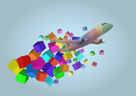 illustration of airplane with colorful fantasy