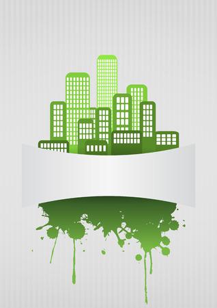 urban area: illustration of green urban with blank area Illustration