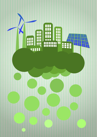 illustration of green urban city with blank area Vector