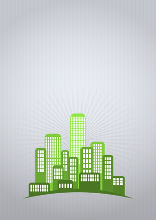 urban area: illustration of green urban city with blank area