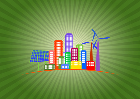 illustration of green energy with colorful city Vector