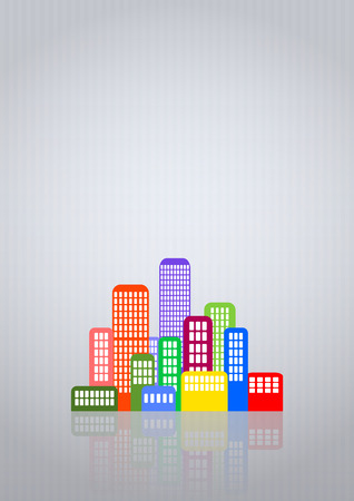 illustration of colorful urban city with grey background Vector