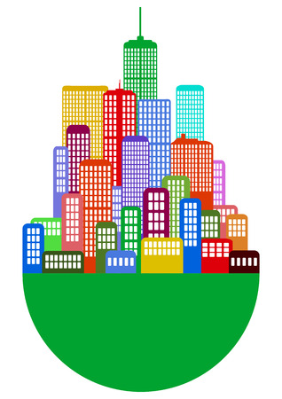 illustration of colorful urban city with circular base Vector