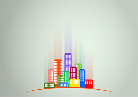 illustration of colorful urban city with green background