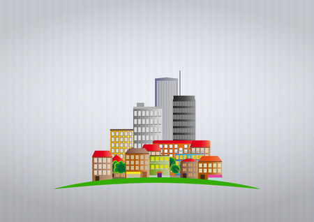 illustration of colorful urban city  with grey background