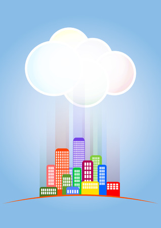 suburban street: illustration of colorful skyline city with cloud