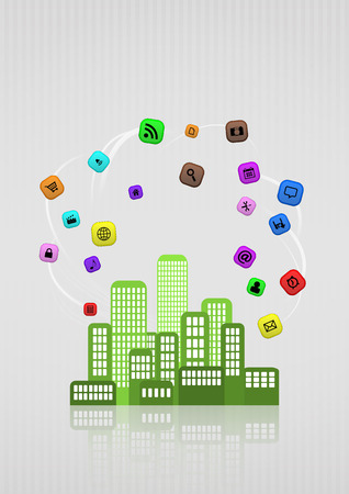 illustration of colorful urban city with multimedia icon Vector