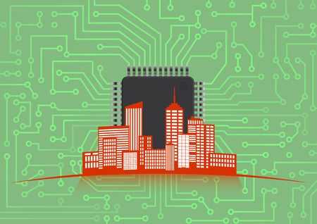 electronic board: illustration of colorful urban city with electronic board