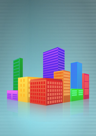 high society: illustration of colorful urban city with blue background Illustration