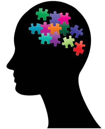 jig: illustration of silhouette head with colorful pieces of puzzle