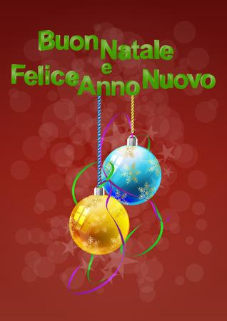 buon: illustration of Buon Natale text with xmas balls