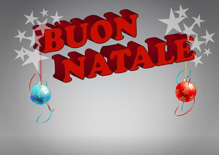 illustration of merry christmas italian text with xmas balls