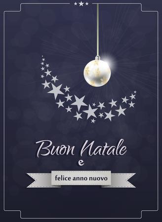 illustration of merry christmas italian text with xmas ball Illustration