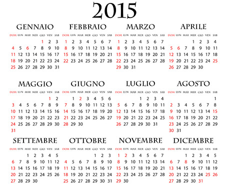 illustration of 2015 calendar italian with holidays Vector