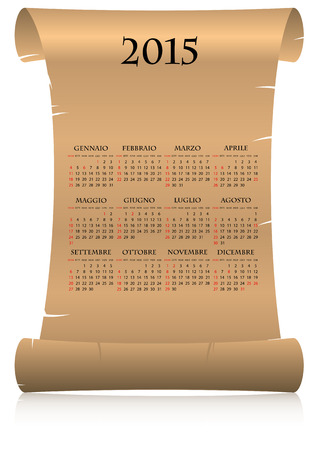 15 months old: illustration of 2015 calendar on parchment in italian language