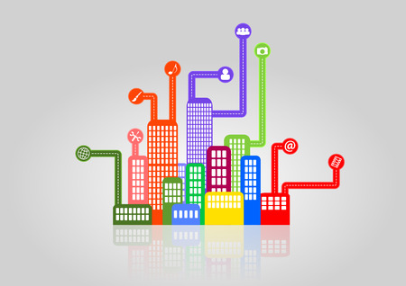 high society: illustration of colorful urban city with multimedia icon Illustration