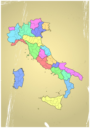 illustration of italy province and region maps