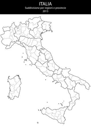 illustratie van italië provincie en regio kaarten
