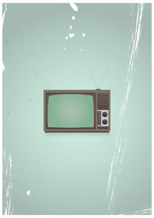 vintage television: illustration of vintage television with green background