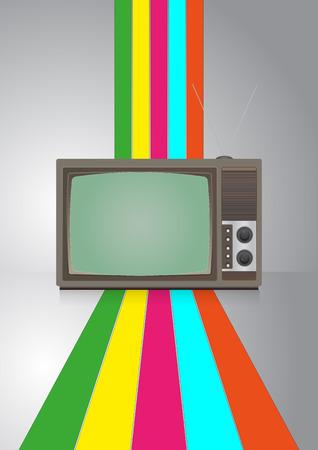 vintage television: illustration of vintage television with color lines Illustration