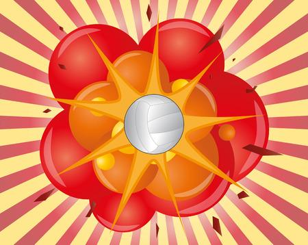 pelota de voley: ilustraci�n de una bola de volea con la explosi�n Vectores