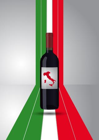 unopened: illustration of wine bottle with italian ribbon