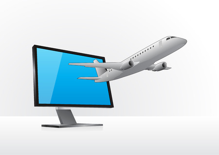 goes: illustration of plane that goes out from the monitor Illustration
