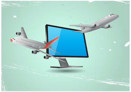 goes: illustration of planes that goes out from the monitor