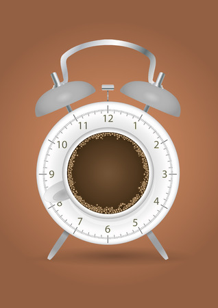 second breakfast: illustration of coffee alarm clock with brown background Illustration