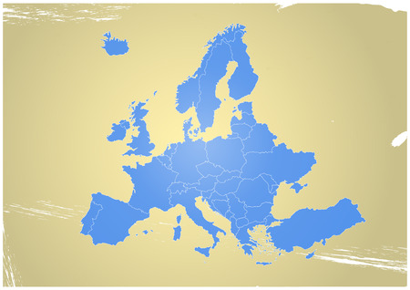 comunity: illustration of europe chart, blue countries shape