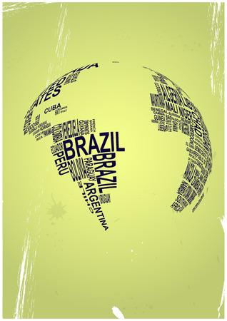 planisphere: illustration of text world with vintage background Illustration