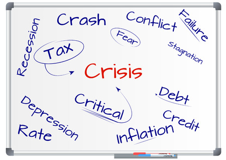 illustration of crisis text on green whiteboard Illusztráció
