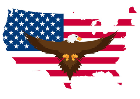 falconidae: illustration of eagle with usa flag in background Illustration