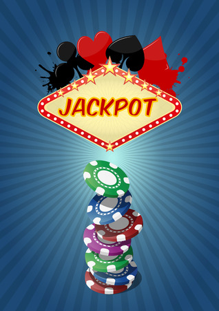 las vegas lights: illustration of jackpot with casino chips stack Illustration