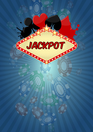 s and m: illustration of jackpot casino with chips fall Illustration
